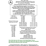 Continental Classic Race Rules. Accepting birds through June 1st!!